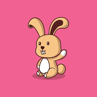 Ilustracja kreskówka ładny królik