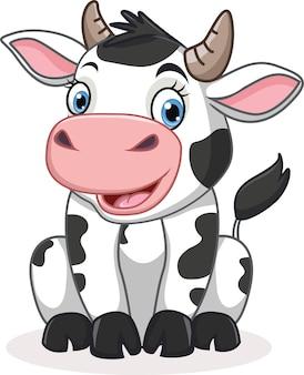 Ilustracja kreskówka ładny krowa