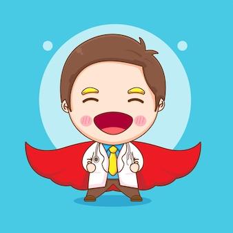 Ilustracja kreskówka ładny lekarz jako super bohater