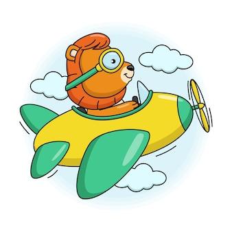 Ilustracja kreskówka ładny lew latający w samolocie