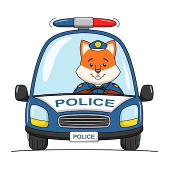 Ilustracja kreskówka ładny lis policjant