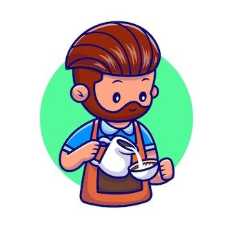 Ilustracja kreskówka ładny mężczyzna barista