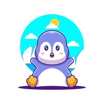 Ilustracja kreskówka ładny pingwin