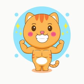 Ilustracja kreskówka ładny silny kot