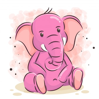 Ilustracja kreskówka ładny słoń