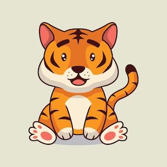 Ilustracja kreskówka ładny tygrys