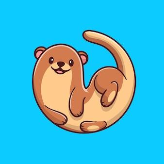 Ilustracja kreskówka ładny wydra. pojęcie natury zwierzęcej na białym tle. płaski styl kreskówki