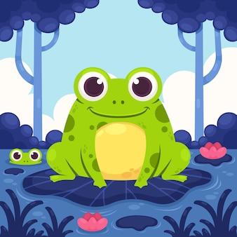 Ilustracja kreskówka ładny żaba