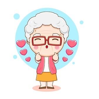 Ilustracja kreskówka ładny znak babcia pozowanie miłość palec