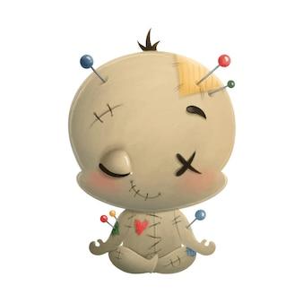 Ilustracja kreskówka lalka voodoo medytacji. halloweenowa joga