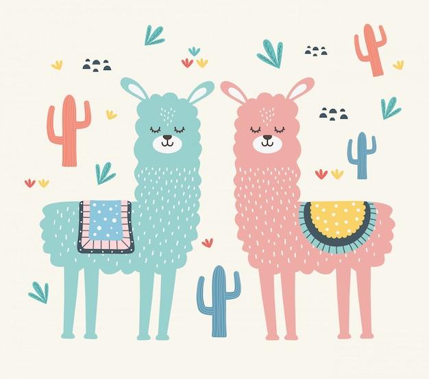 Ilustracja kreskówka lama projekt wektor