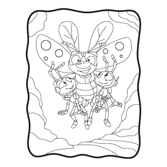 Ilustracja kreskówka latające pszczoły niosą 2 mrówki kolorowanka lub stronę dla dzieci czarno-białe