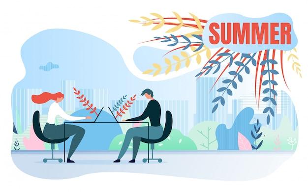Ilustracja kreskówka lato napis wektor. praca biurowa w sezonie letnim.