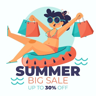 Ilustracja kreskówka lato sprzedaż
