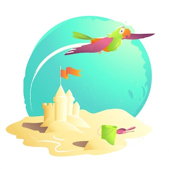 Ilustracja kreskówka lato. zamek z piasku, wiadro, łopata, flaga. ilustracja lato, okładka książki, reklama. baner, afisz, druk. karta świąteczna. letnie słońce.