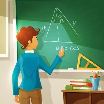 Ilustracja kreskówka lekcja geometrii