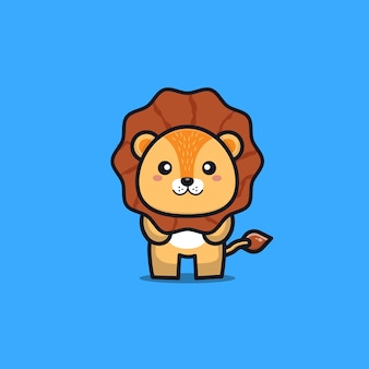 Ilustracja kreskówka lew ładny