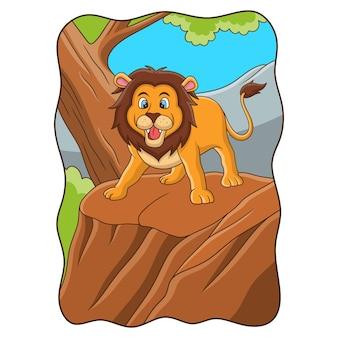 Ilustracja kreskówka lew ryczący na klifie w środku lasu
