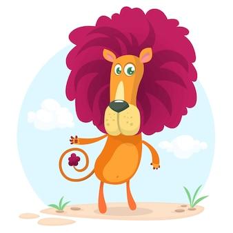 Ilustracja kreskówka lew śmieszne