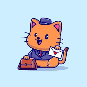 Ilustracja kreskówka listonosz ładny kot. koncepcja zawodu zwierząt na białym tle. płaski styl kreskówki