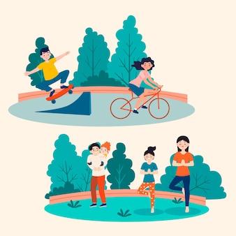 Ilustracja kreskówka ludzi robiących zajęcia na świeżym powietrzu