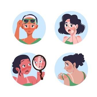 Ilustracja kreskówka ludzie z oparzeniami słonecznymi