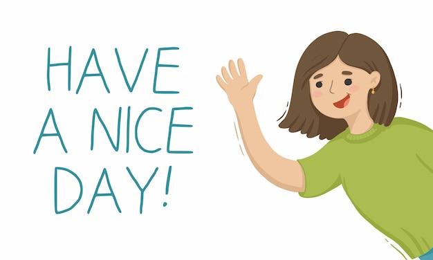 Ilustracja kreskówka macha ręką dziewczyna życzy miłego dnia
