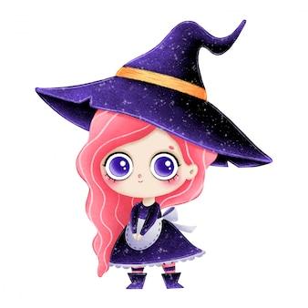 Ilustracja kreskówka mała czarownica z różowymi włosami