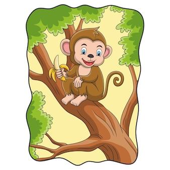 Ilustracja kreskówka małpa je banana na drzewie