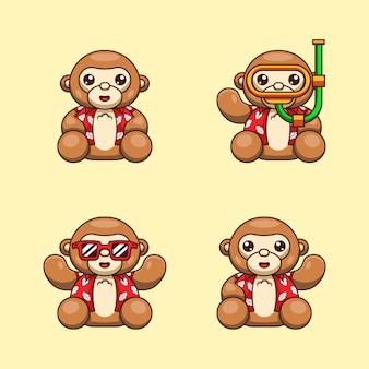 Ilustracja kreskówka małpy niedźwiedzia z letnią koszulę gotowy na dzień oceanu świata