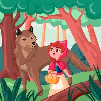 Ilustracja kreskówka mały czerwony kapturek