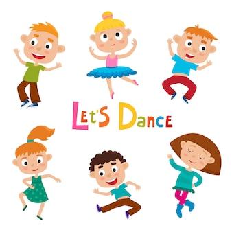 Ilustracja kreskówka małych wdzięcznych dziewcząt tancerki i szczęśliwych chłopców hipster na białym tle