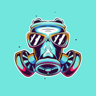 Ilustracja kreskówka maska gazowa