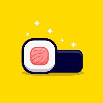 Ilustracja kreskówka maskotka słodkie rolki sushi