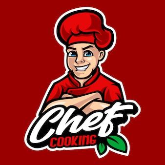 Ilustracja kreskówka maskotka szefa kuchni