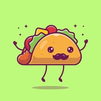 Ilustracja kreskówka maskotka wąsy taco. urocza postać taco. koncepcja żywności na białym tle