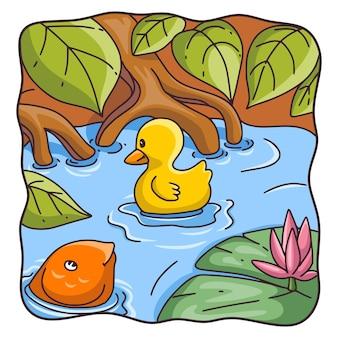 Ilustracja kreskówka matka kaczka z pisklętami pływającymi w rzece