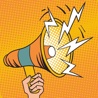 Ilustracja kreskówka megafon pop-artu projekt głośnika.