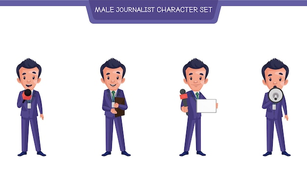 Ilustracja kreskówka męskiego dziennikarza zestaw znaków