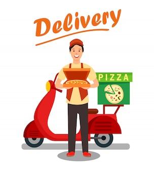 Ilustracja kreskówka mężczyzna dostawy pizzy