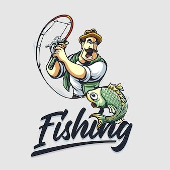 Ilustracja kreskówka mężczyzna połowów