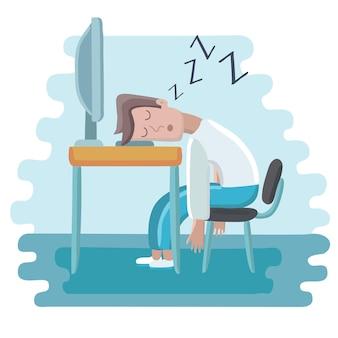 Ilustracja kreskówka mężczyzna śpi na miejscu pracy
