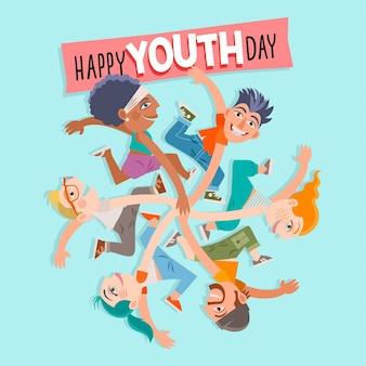 Ilustracja kreskówka międzynarodowy dzień młodzieży