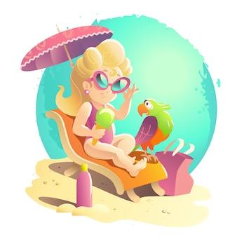 Ilustracja kreskówka mieszkanie lato. wybrzeże morskie, piasek, niebo. młoda śliczna dziewczyna w okularach przeciwsłonecznych siedzi na leżaku z uśmiechniętą papugą pod parasolem.