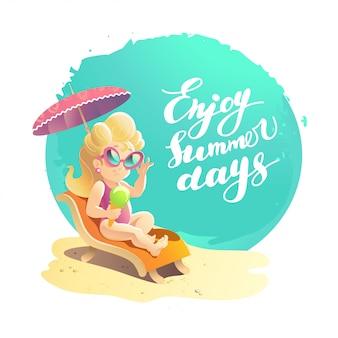 Ilustracja kreskówka mieszkanie lato. wybrzeże morskie, piasek, niebo. młoda śliczna uśmiechnięta dziewczyna w okulary siedzi na leżaku do opalania pod parasolem.