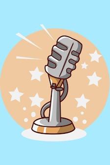 Ilustracja kreskówka mikrofon
