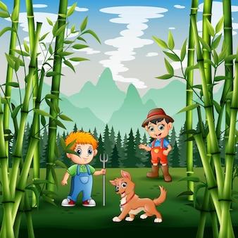 Ilustracja kreskówka młodych rolników w zielonej ziemi