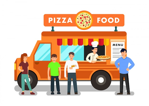 Ilustracja kreskówka mobilna restauracja