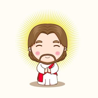 Ilustracja kreskówka modlącego się słodkiego jezusa
