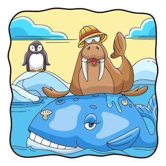 Ilustracja kreskówka mors siedzący na wielorybie